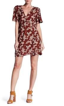 Angie Short Sleeve Deep V Ladder Lace Floral Print Ruffle Hem Dress