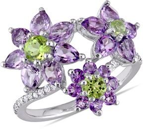 Laura Ashley English Garden Amethyst and Peridot Three-Flower Ring Size 6