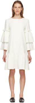 Edit Off-White Tiered Sleeve Full Peplum Dress