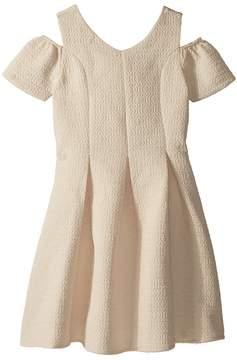 Us Angels Cold Shoulder Fit Flare Brocade Dress Girl's Dress
