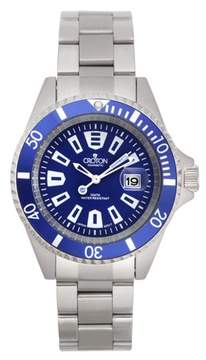 Croton Men's All Stainless Blue Dial Quartz Watch with Blue Rotating Bezel & Magnified Date