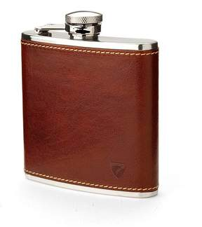 Aspinal of London Classic 5Oz Leather Hip Flask In Smooth Cognac