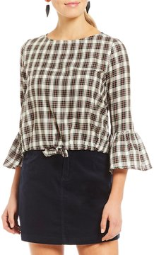 Copper Key Plaid Tie Front 3/4 Bell Sleeve Top