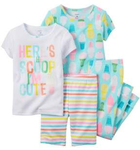 Carter's Baby Clothing Outfit Girls 4-Piece Snug Fit Cotton PJs Ice Cream Print Blue