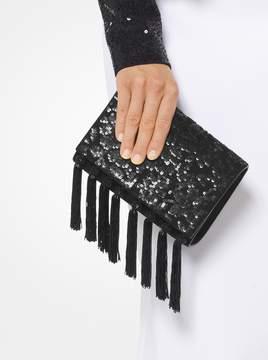 Michael Kors Yasmeen Floral Sequined Tassel Clutch - BLACK - STYLE