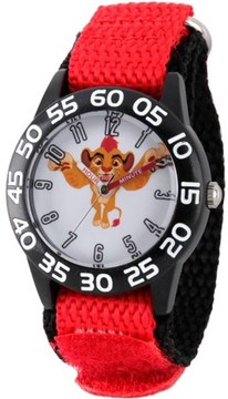 Disney Lion Guard Kion Boys' Black Plastic Time Teacher Watch, Red Hook and Loop Nylon Strap with Black Backing