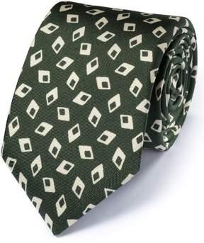 Charles Tyrwhitt Forest Green Silk Italian Luxury Diamond Tie