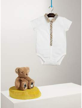 Burberry Check Detail Cotton Bodysuit