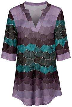 Azalea Lavender & Turquoise Abstract V-Neck Tunic - Women & Plus