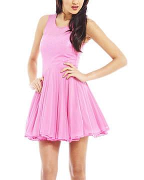 AX Paris Pink Fit & Flare Dress - Women
