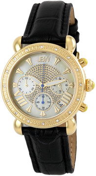 JBW Victory Mother of Pearl Diamond Gold-tone Diamond Case Black Leather Strap Ladies Watch