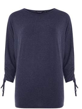 Dorothy Perkins Navy Marl Ruches Sleeve Top