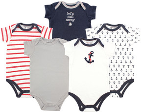 Luvable Friends Navy & White Nautical Bodysuit Set - Infant
