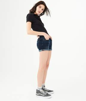 Aeropostale Dark Wash Cuffed Denim Midi Shorts
