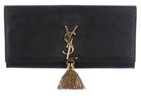 Saint Laurent Cassandre Tassel Clutch - BLACK - STYLE