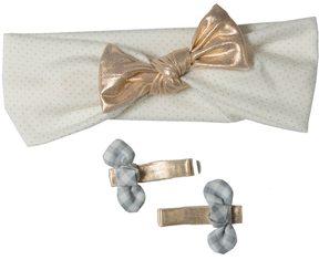 Osh Kosh Baby Girl 3-pk. Metallic Head Wrap & Hair Clips Set