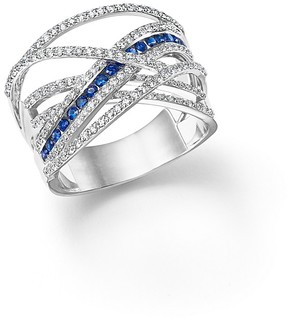 Bloomingdale's Diamond and Sapphire Crossover Ring in 14K White Gold - 100% Exclusive