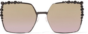 Fendi Can Eye Embellished Square-frame Metal Sunglasses - Black