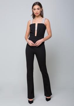 Bebe Embellished Strap Jumpsuit