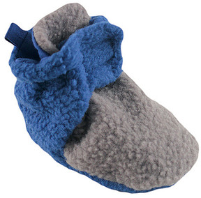 Luvable Friends Gray & Blue Fleece Booties - Boys