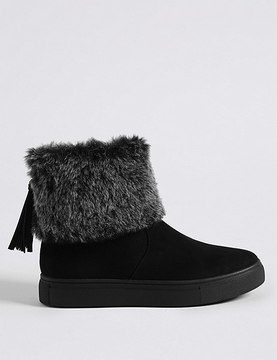 Marks and Spencer Side Zip Tassel Faux Fur Ankle Boots