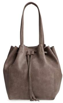 Street Level Faux Leather Drawstring Tote - Grey