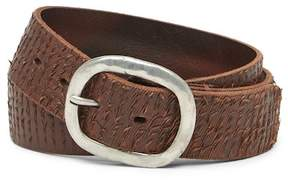 John Varvatos Collection Textured Leather Buckle Belt
