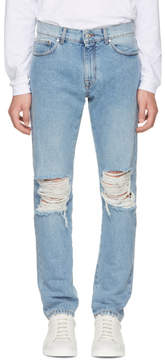 MSGM Blue Distressed Slim Jeans