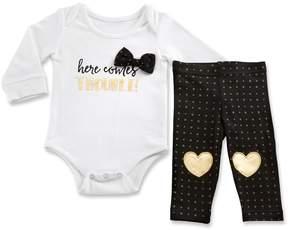 Baby Aspen Baby Girl Trendy Baby Here Comes Trouble Bodysuit & Leggings Set