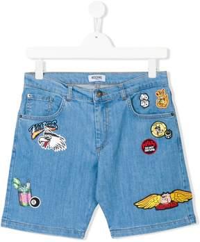 Moschino Kids patch-work denim shorts