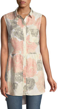 Joan Vass Sleeveless Button-Front Floral Linen Blouse