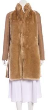 Giamba Faux Fur-Paneled Wool Coat