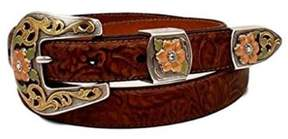 Ariat A1524802-M 1 in. Womens Floral Embossed Buckle Belt, Brown - Medium, 3 Piece