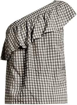 Velvet by Graham & Spencer Haley one-shoulder gingham top