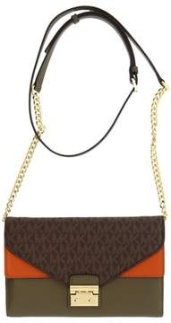 Michael Kors Sloan Large Leather - Wallet-on-chain - Brown/Olive/Orange - 32F7GSLF3B-285 - MULTICOLOR - STYLE