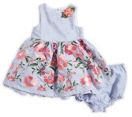 Laura Ashley Baby Girl's Two-Piece Striped Dress and Bloomers Set