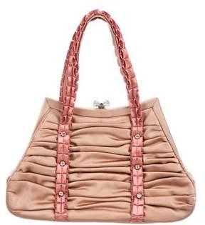 Judith Leiber Ruffle Detail Satin Handle Bag