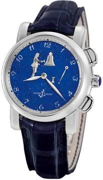 Ulysse Nardin Hourstriker Blue Dial Platinum Blue Leather Men's Watch 6109-103-E3