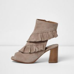 River Island Womens Beige suede frill peeptoe boots
