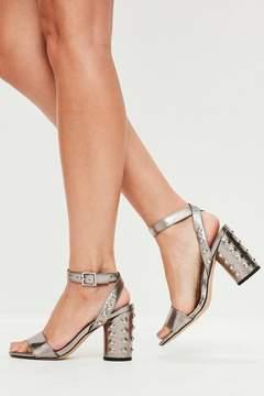 Missguided Grey Stud Heel Sandals