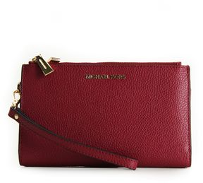 MICHAEL Michael Kors Double Zip Wristlet Wallet Mulberry - RED - STYLE
