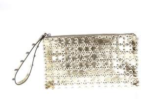 RED Valentino Studded Gold Metallic Leather Clutch