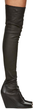 Rick Owens Black Sock Wedge Over-The-Knee Boots