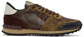 Valentino Brown Garavani Camo Rockrunner Sneakers