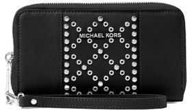 MICHAEL Michael Kors Flat Leather Wristlet - BLACK - STYLE