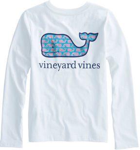 Vineyard Vines Girls Long-Sleeved Etched Foil Whale Pocket Tee