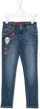 John Richmond Kids skull embroidered skinny jeans