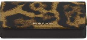 Michael Kors Jet Set Travel Leopard Saffiano Leather - Flat Wallet - Butterscotch - 32F7GF6F2Y-226 - ONE COLOR - STYLE