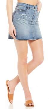 Chelsea & Violet C&V Pearl Embellished Denim Mini Skirt