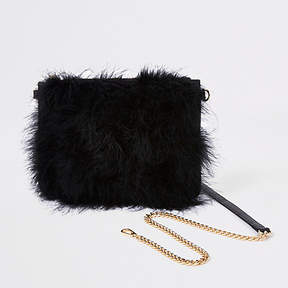River Island Black marabou feather cross body pouch bag
